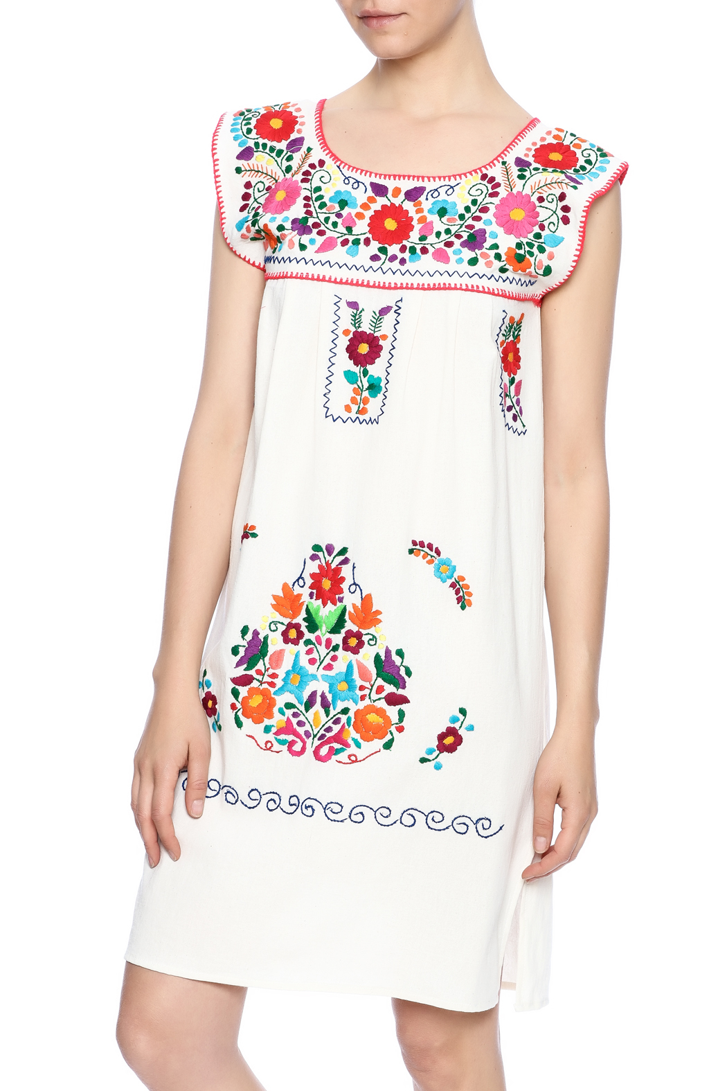 Nativa Mexican Puebla Dress - Front Cropped Image