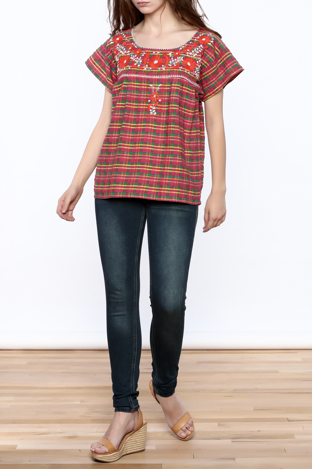 Nativa Plaid Xochitl Blouse - Front Full Image