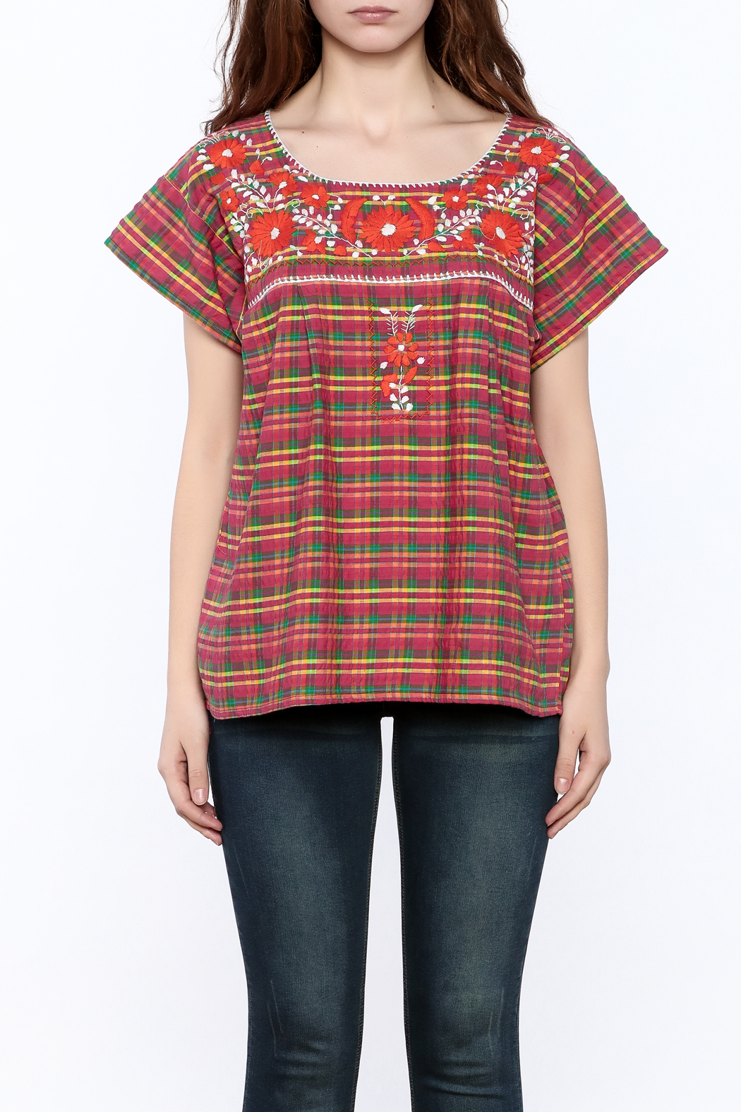 Nativa Plaid Xochitl Blouse - Side Cropped Image