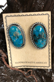 Shiprock Trading Post Native American Turquoise Earring - Front cropped