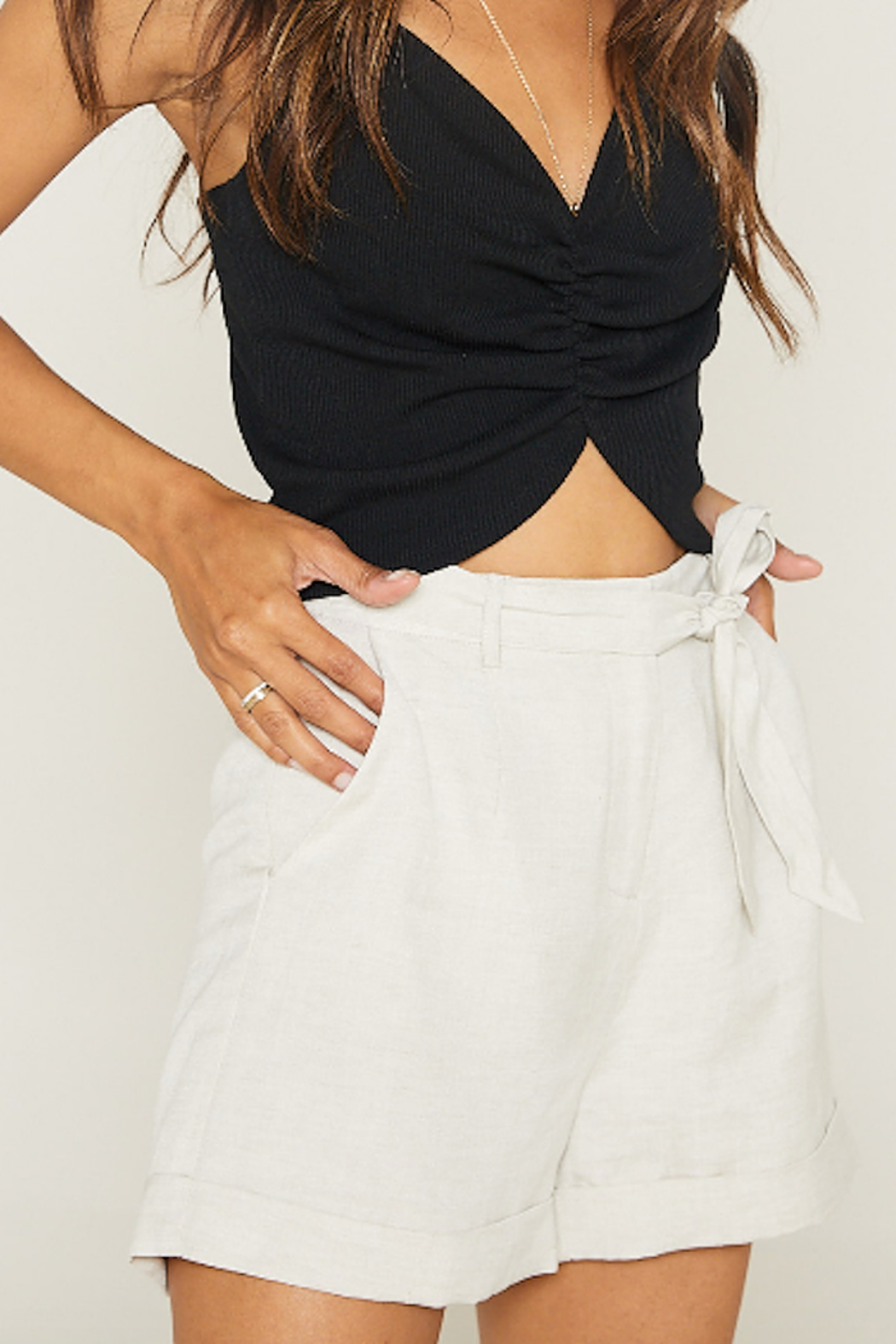 SAGE THE LABEL Native Fox Tie Front Shorts - Side Cropped Image