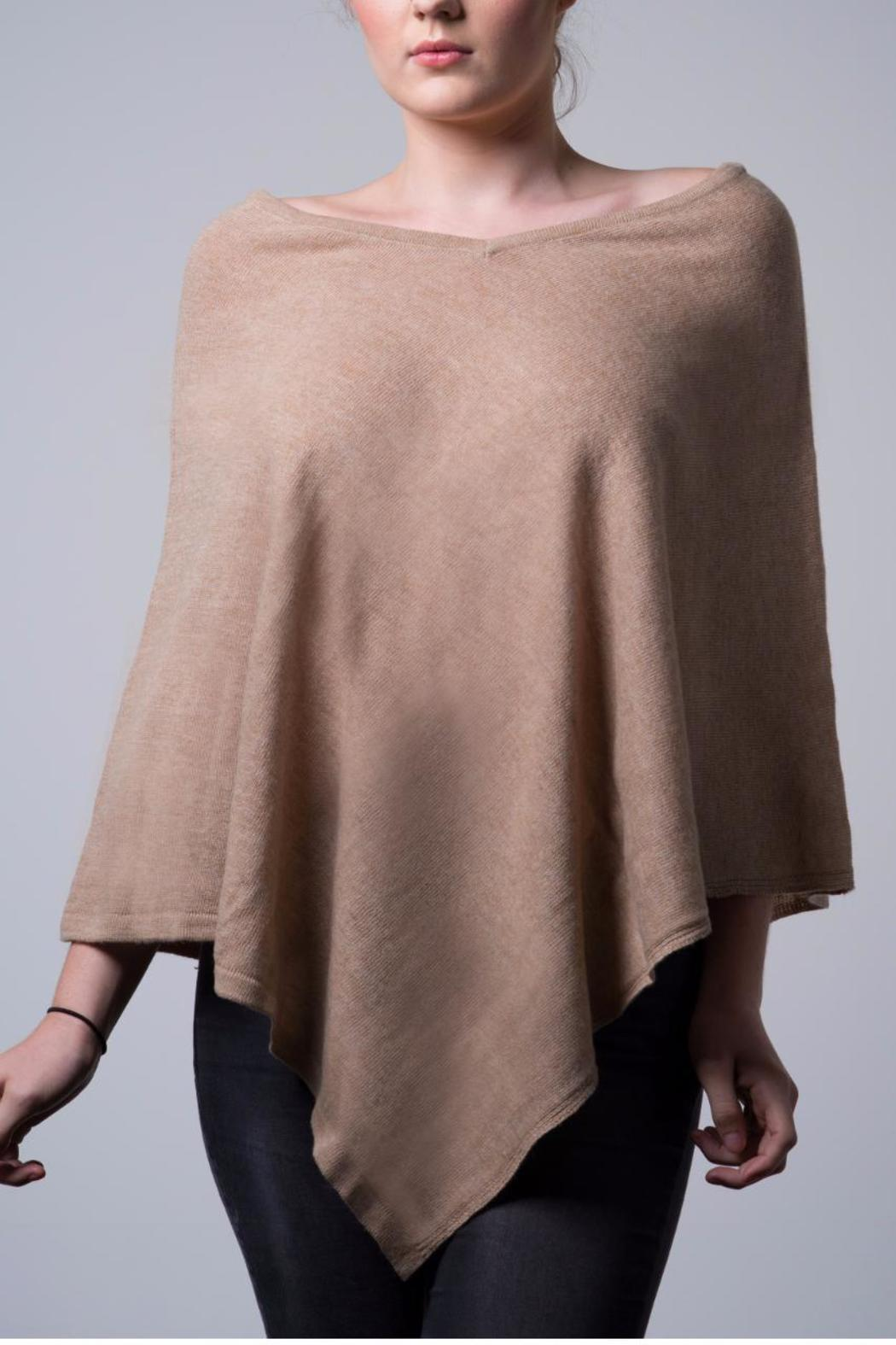 Nine Yaks Natural Cashmere Poncho - Front Cropped Image