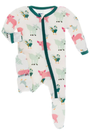 Kickee Pants Natural Farm Animals Zipper Footie - Front cropped