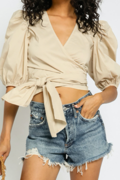 Shoptiques Product: Natural Puff Sleeve Tie Top