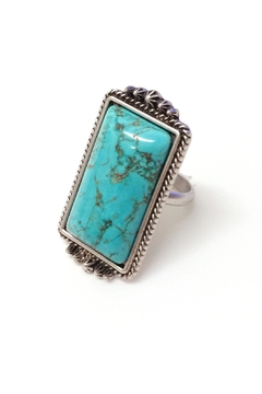 Shoptiques Product: Natural Rectangualr-Turquoise-Stone Adjustable-Ring
