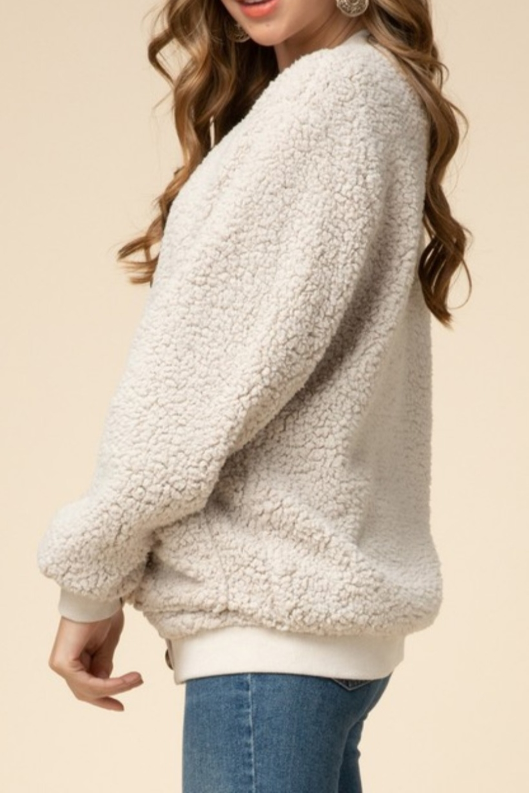 Entro  Natural Sherpa Cardigan - Side Cropped Image