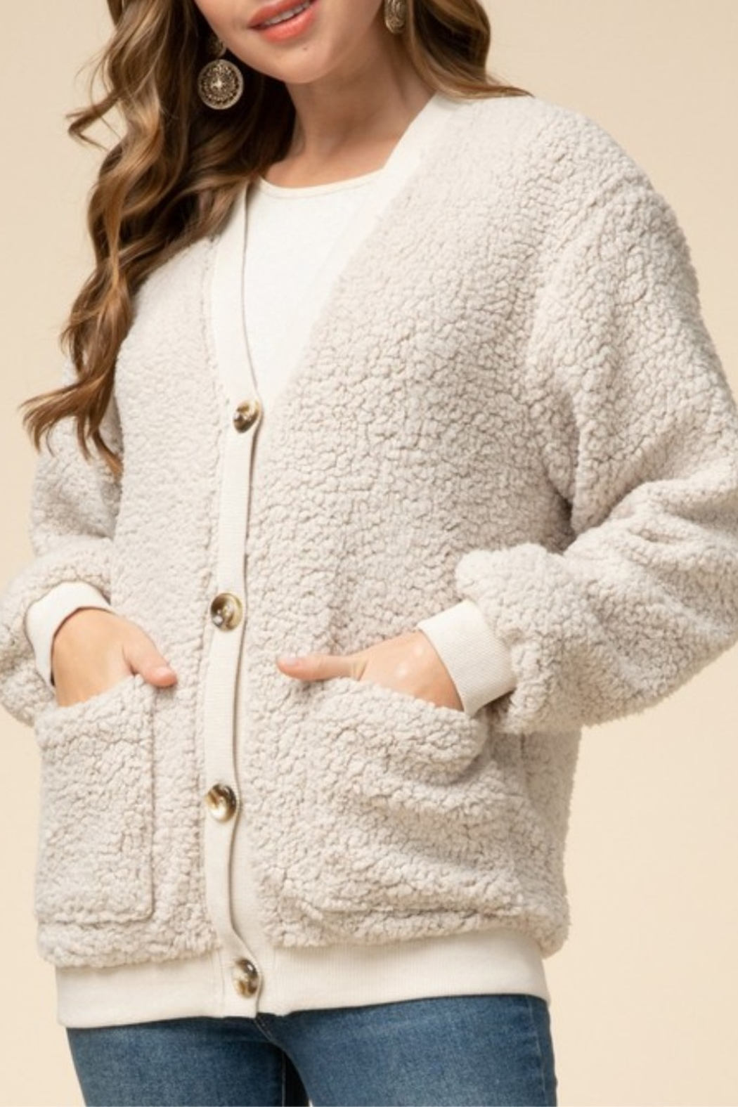 Entro  Natural Sherpa Cardigan - Front Cropped Image