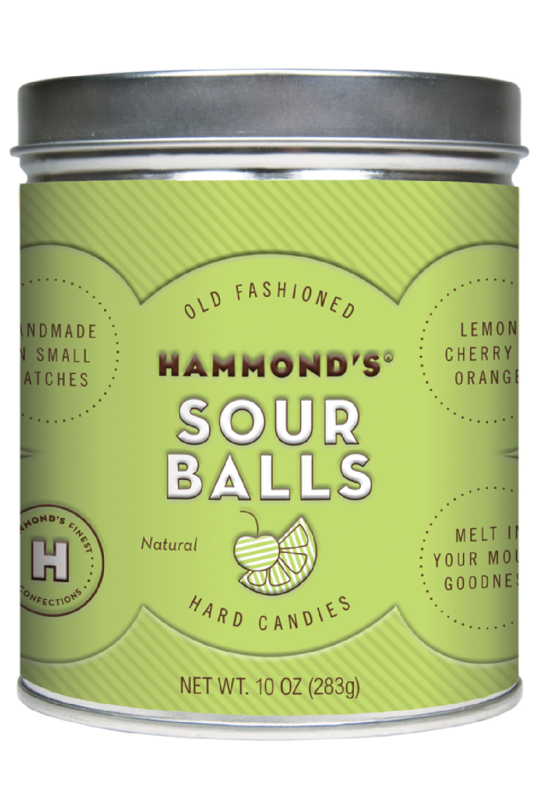 Hammond's Candies NATURAL SOUR BALL DROP TIN - Front Cropped Image