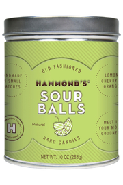 Hammond's Candies NATURAL SOUR BALL DROP TIN - Front cropped
