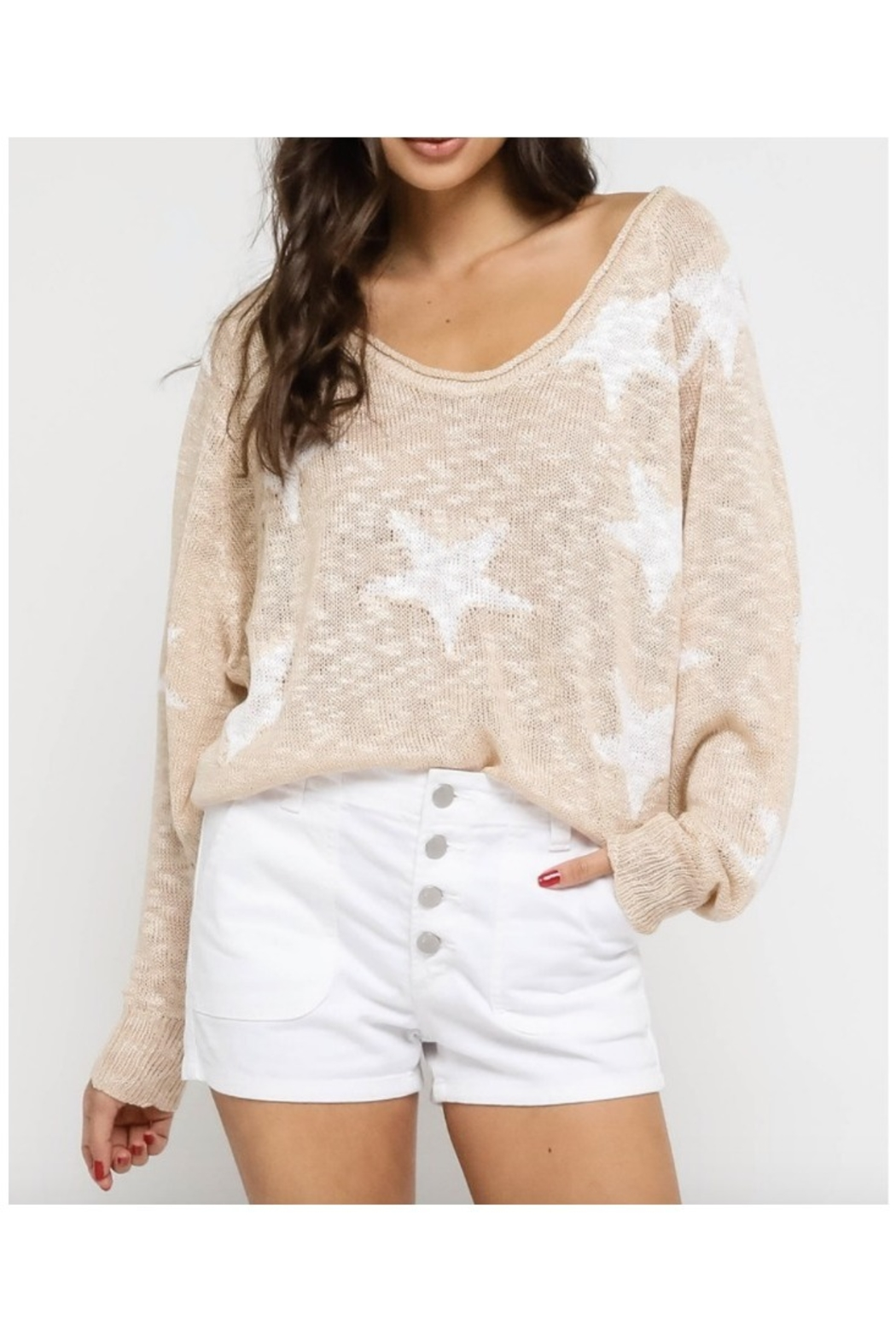 Olivaceous Natural Star Sweater - Main Image