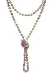 Riah Fashion Natural-Stone-Bead Tassel-Necklace - Product Mini Image