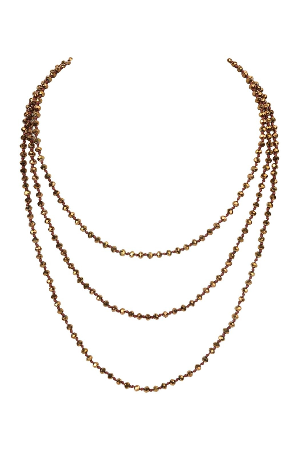 Riah Fashion Natural-Stone-Layered Beads-Necklace - Front Full Image