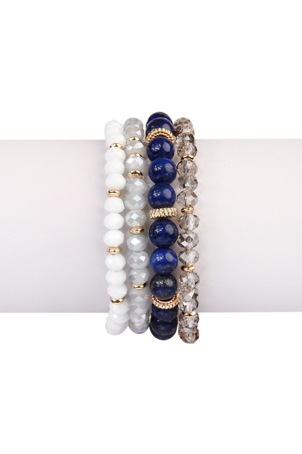 Riah Fashion Natural-Stone Multibead Stack-Bracelet - Front Cropped Image