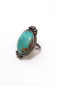 Shoptiques Product: Natural Turquoise Adjustable-Ring