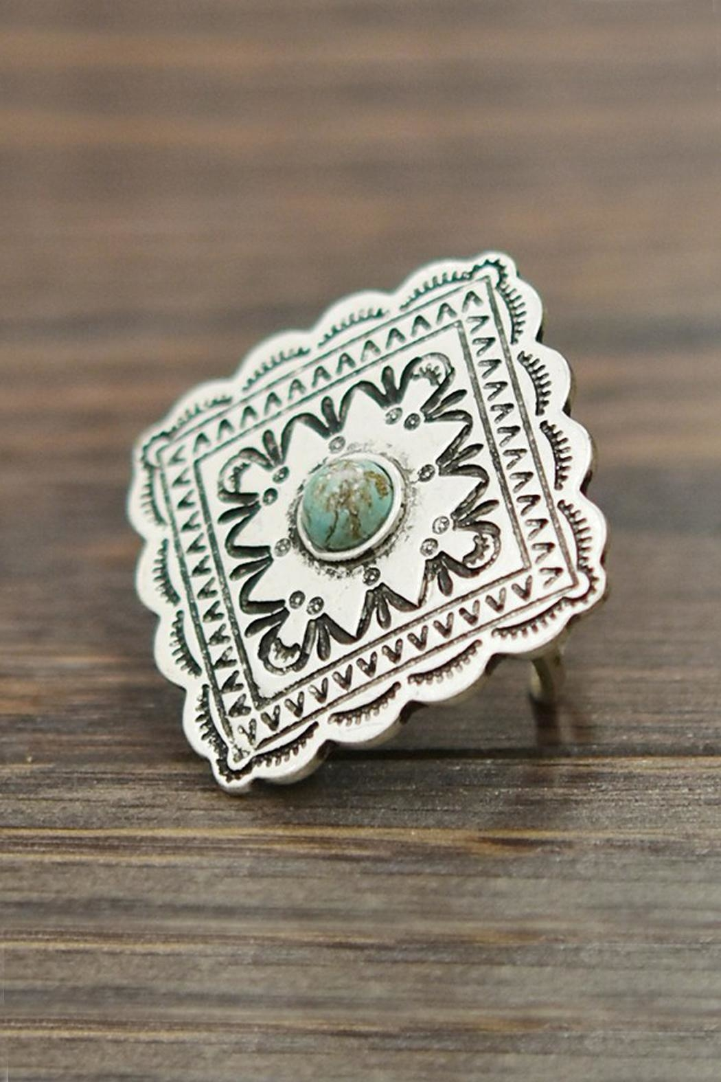 JChronicles Natural-Turquoise Concho Adjustable-Ring - Main Image