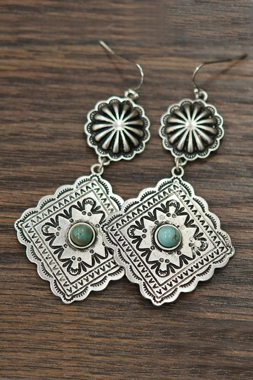 Natural Turquoise Concho Earrings