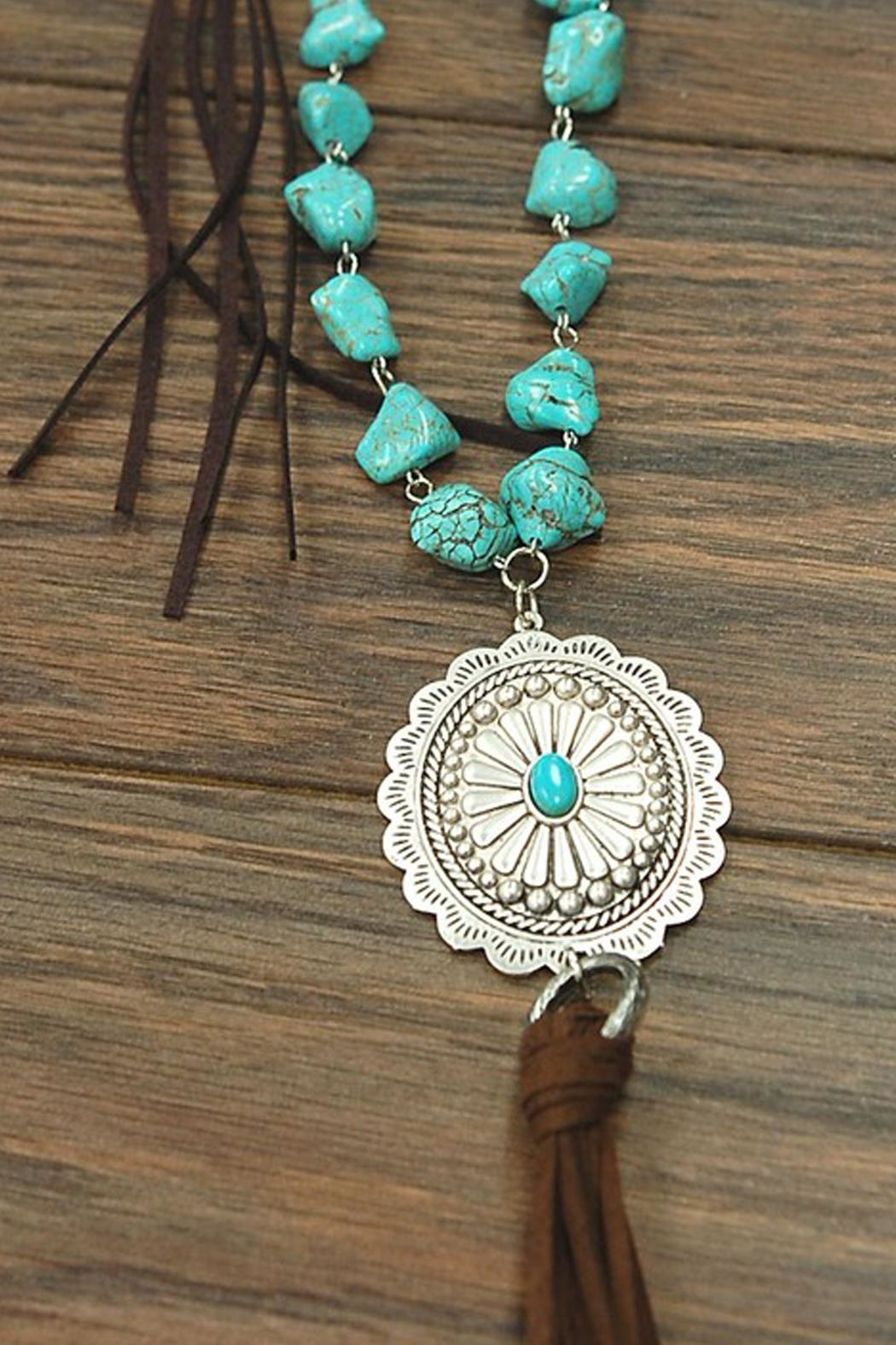JChronicles Natural Turquoise Concho-Necklace - Front Full Image
