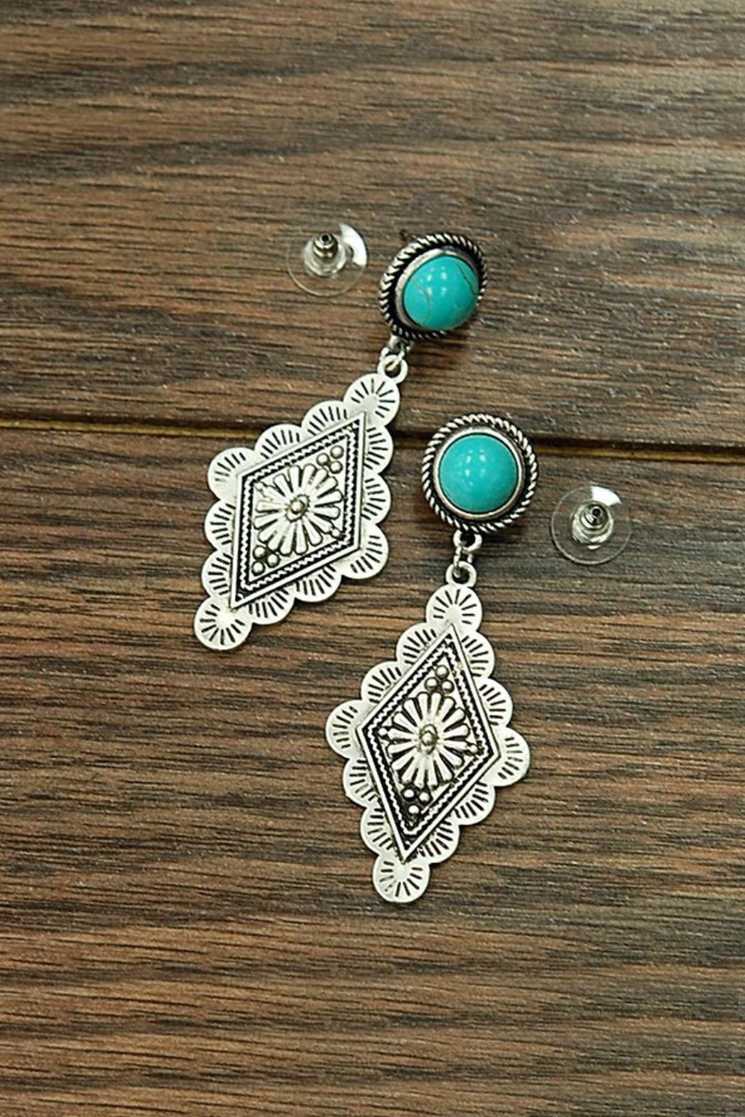 JChronicles Natural-Turquoise Concho Post-Earrings - Main Image
