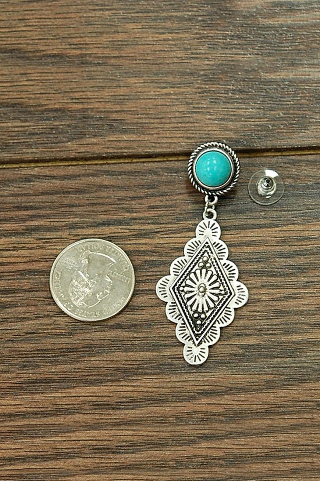 JChronicles Natural-Turquoise Concho Post-Earrings - Front Full Image