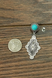 JChronicles Natural-Turquoise Concho Post-Earrings - Front full body