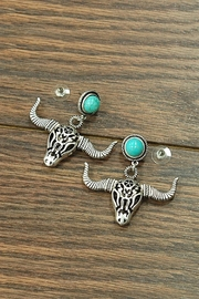 JChronicles Natural-Turquoise Cow-Skull Post-Earrings - Product Mini Image