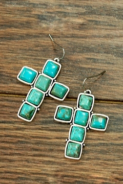 JChronicles Natural-Turquoise Cross Earring - Product List Image