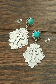 JChronicles Natural Turquoise Cross-Post-Earrings - Product Mini Image