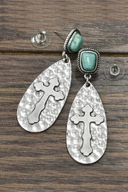 JChronicles Natural-Turquoise Cross-Post Earrings - Product Mini Image