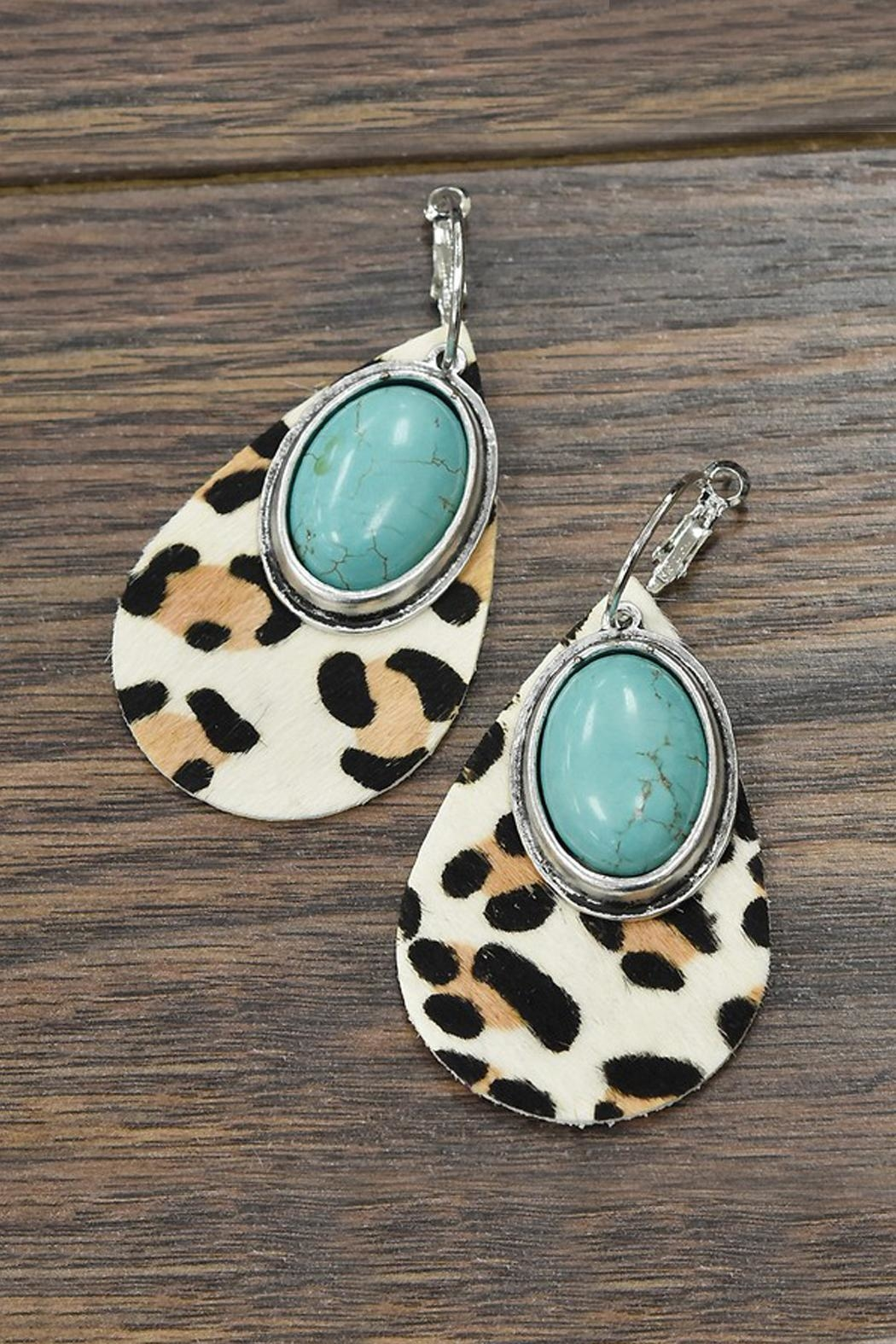 JChronicles Natural-Turquoise Leather-Animal Print-Earrings - Main Image