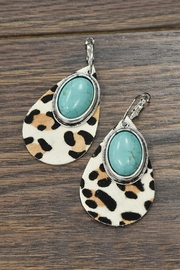 JChronicles Natural-Turquoise Leather-Animal Print-Earrings - Product Mini Image