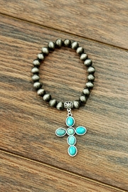 JChronicles Natural-Turquoise Navajo-Pearl Stretch-Bracelet - Product Mini Image