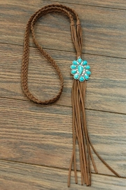 JChronicles Natural-Turquoise Pendant Long-Suede-Necklace - Product Mini Image