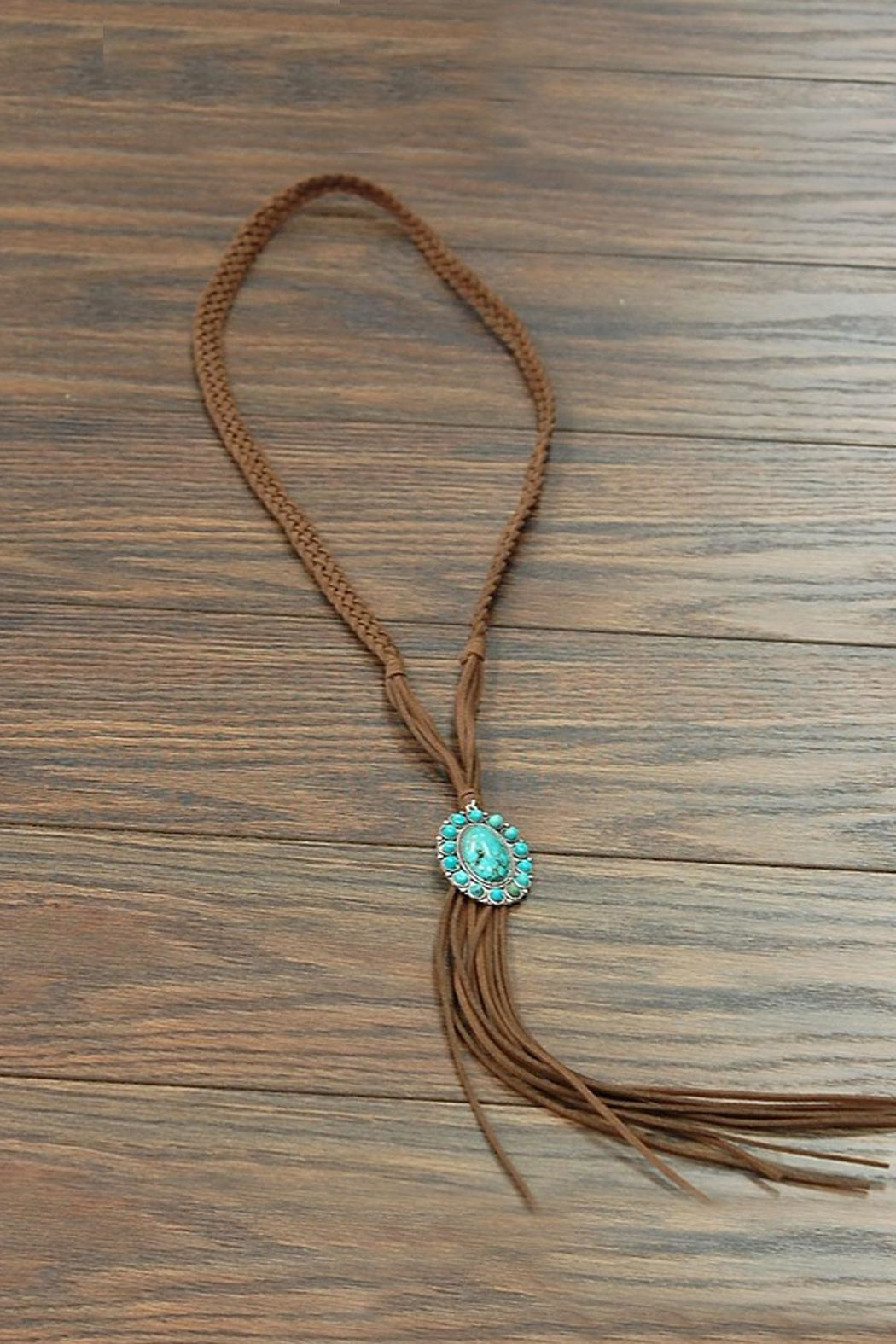 JChronicles Natural-Turquoise-Pendant Long-Suede Necklace - Main Image