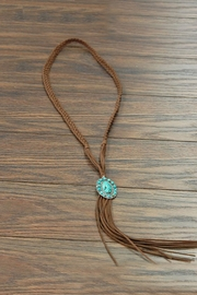 JChronicles Natural-Turquoise-Pendant Long-Suede Necklace - Front cropped