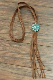 JChronicles Natural-Turquoise Pendant-Long Suede-Necklace - Product Mini Image