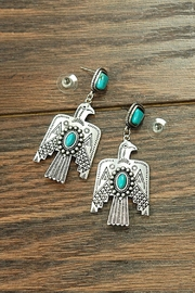 JChronicles Natural-Turquoise Post Thunderbird-Earrings - Product Mini Image