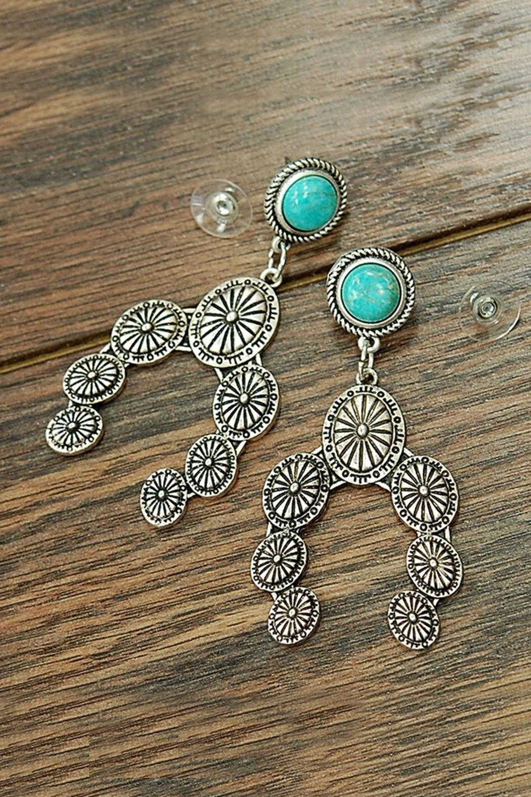 JChronicles Natural-Turquoise Squash-Blossom Post-Earrings - Main Image