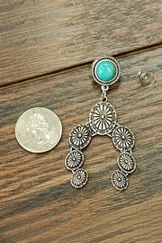 JChronicles Natural-Turquoise Squash-Blossom Post-Earrings - Front full body