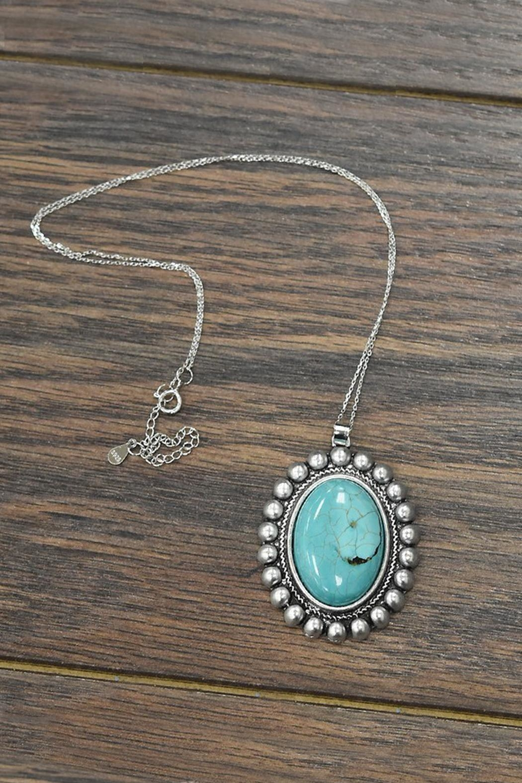 JChronicles Natural-Turquoise-Stone With Sterling-Silver-Chain-Necklace - Main Image