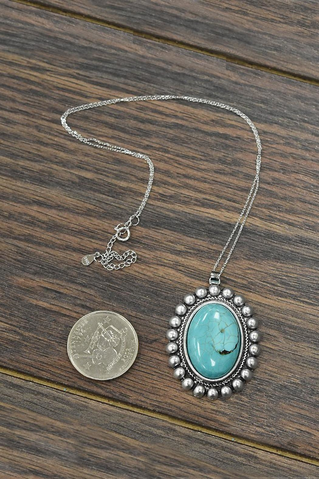 JChronicles Natural-Turquoise-Stone With Sterling-Silver-Chain-Necklace - Front Full Image