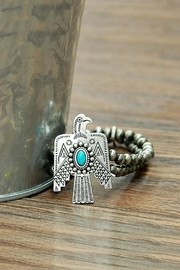 JChronicles Natural-Turquoise Thunderbird-Navajo-Pearl Stretch-Bracelet - Product Mini Image
