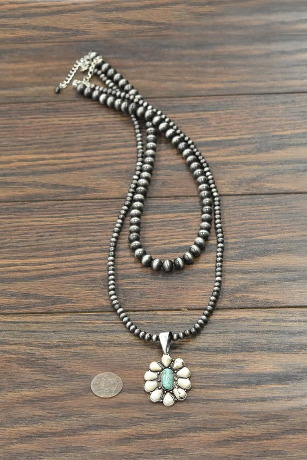 JChronicles Natural-Turuqoise Navajo-Pearl Necklace - Side Cropped Image