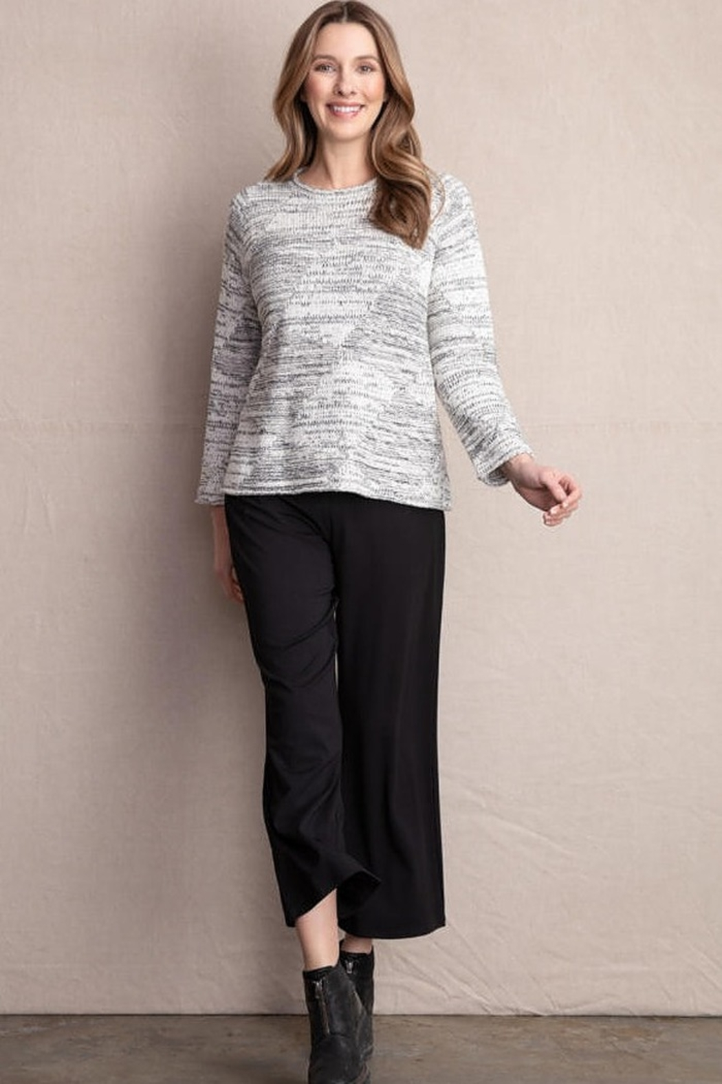 Habitat Natural white and black mixed stitch pullover sweater - Main Image