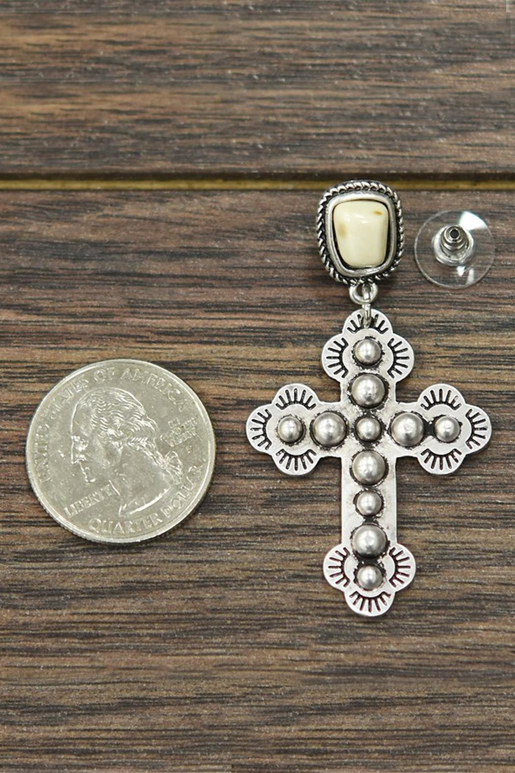 JChronicles Natural-White-Turquoise Cross Post-Earrings - Front Full Image