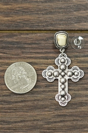 JChronicles Natural-White-Turquoise Cross Post-Earrings - Front full body