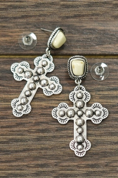 Shoptiques Product: Natural-White-Turquoise Cross Post-Earrings