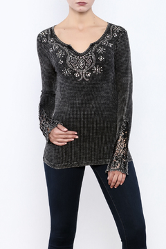 Shoptiques Product: Black Embellished Knit Top