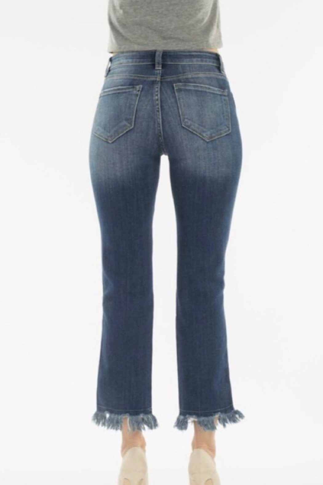 Nature Denim High Rise Distressed Jean - Back Cropped Image