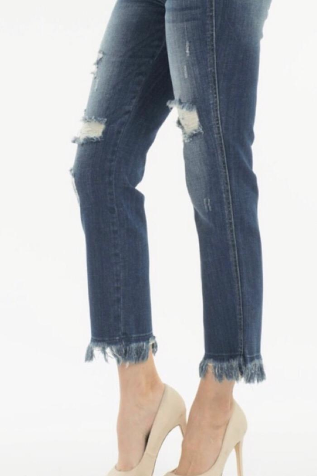Nature Denim High Rise Distressed Jean - Side Cropped Image
