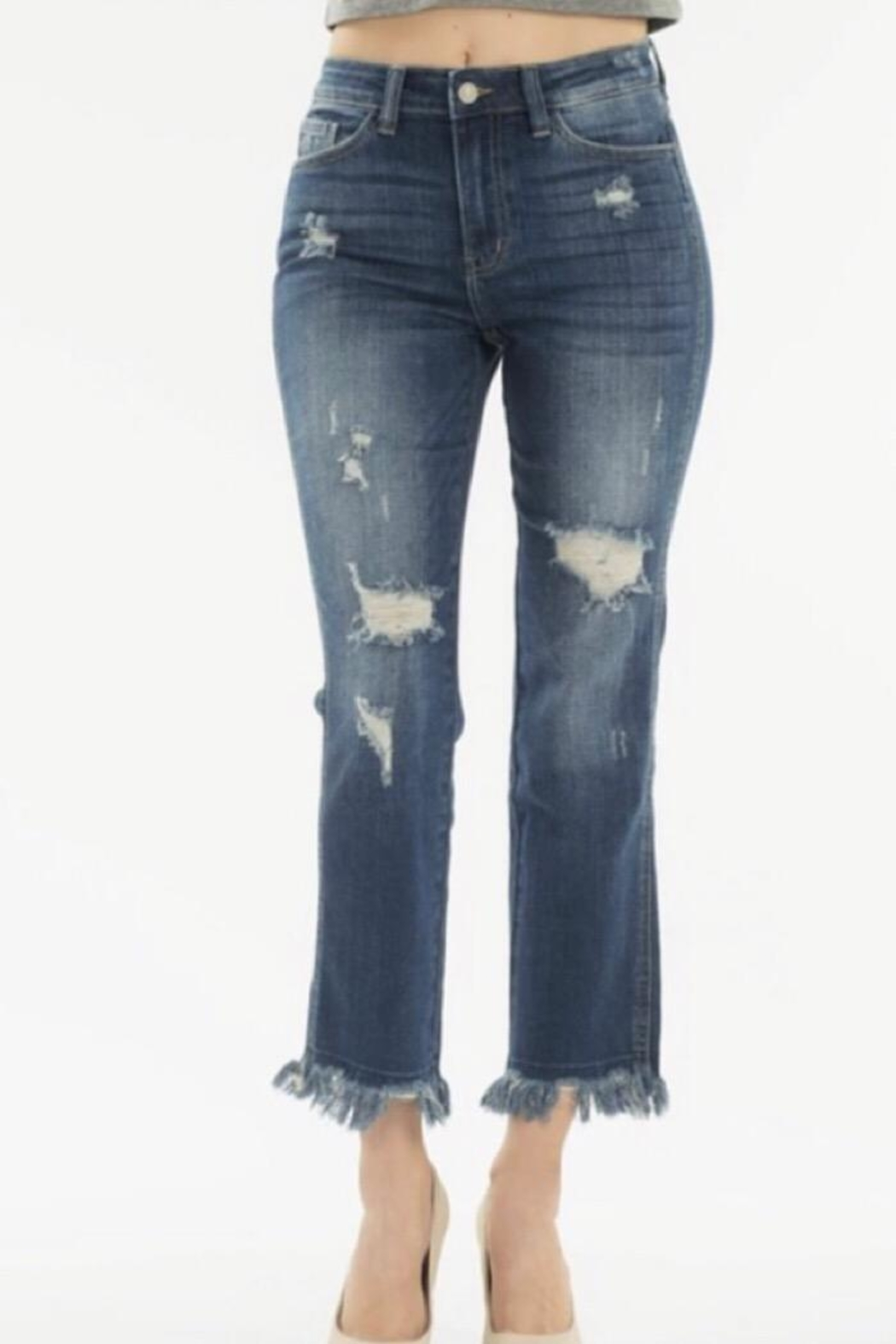 Nature Denim High Rise Distressed Jean - Front Cropped Image